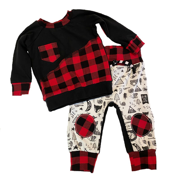 Red Buffalo Plaid Long Sleeve Raglan Size 6-12 Months RTS  - Ready to Ship - Elbow Patch Shirt Holiday Fall Winter
