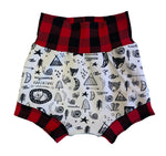 Wild and Free Buffalo Boy Shorties size 12-18 Months RTS  - Spring Forest Camping Animals Shorts Ready to Ship