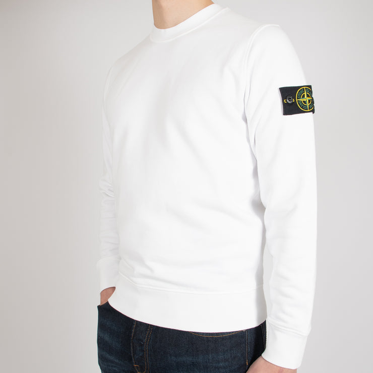 COTTON FLEECE GARMENT DYED SWEATSHIRT CREWNECK WHITE