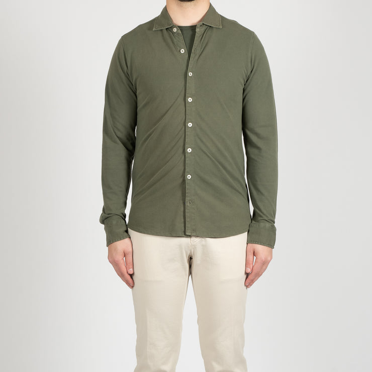 COTTON PIQUE SHIRT GREEN