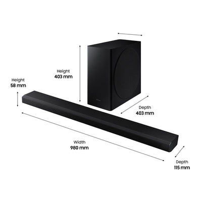 Samsung HW-Q800T Soundbar and subwoofer dimensions