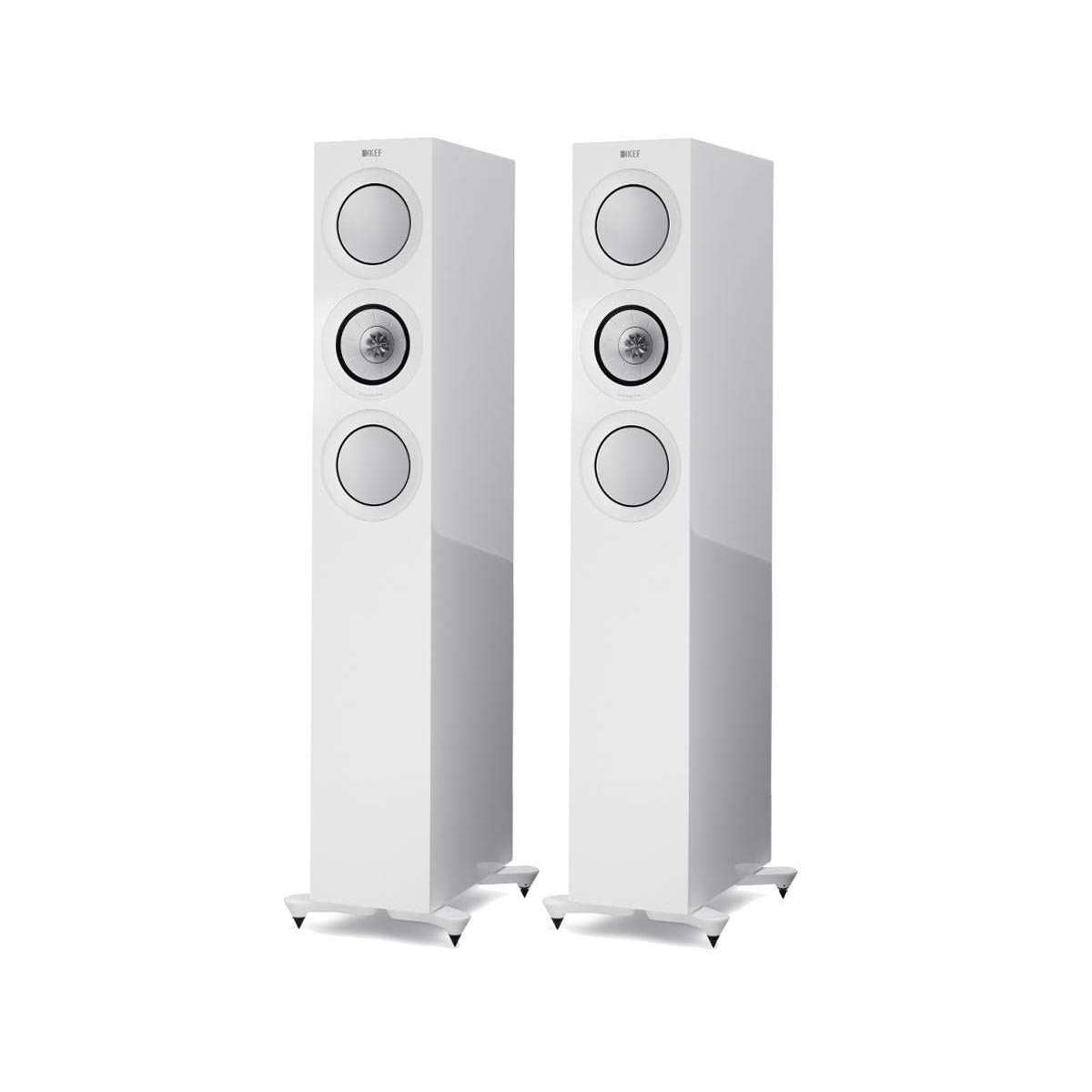 KEF R5 Floorstanding Speakers - Gloss White - Call SpatialOnline 0345 557 7334
