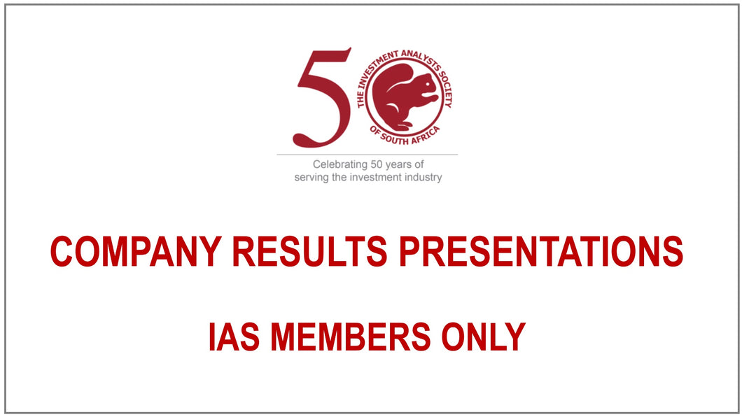 Company Results Presentations - IASSA MEMBERS ONLY - FREE CPD