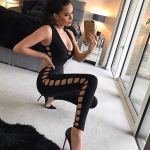 Olivia Sexy Black  Sleeveless V Neck Women Bandage Jumpsuit