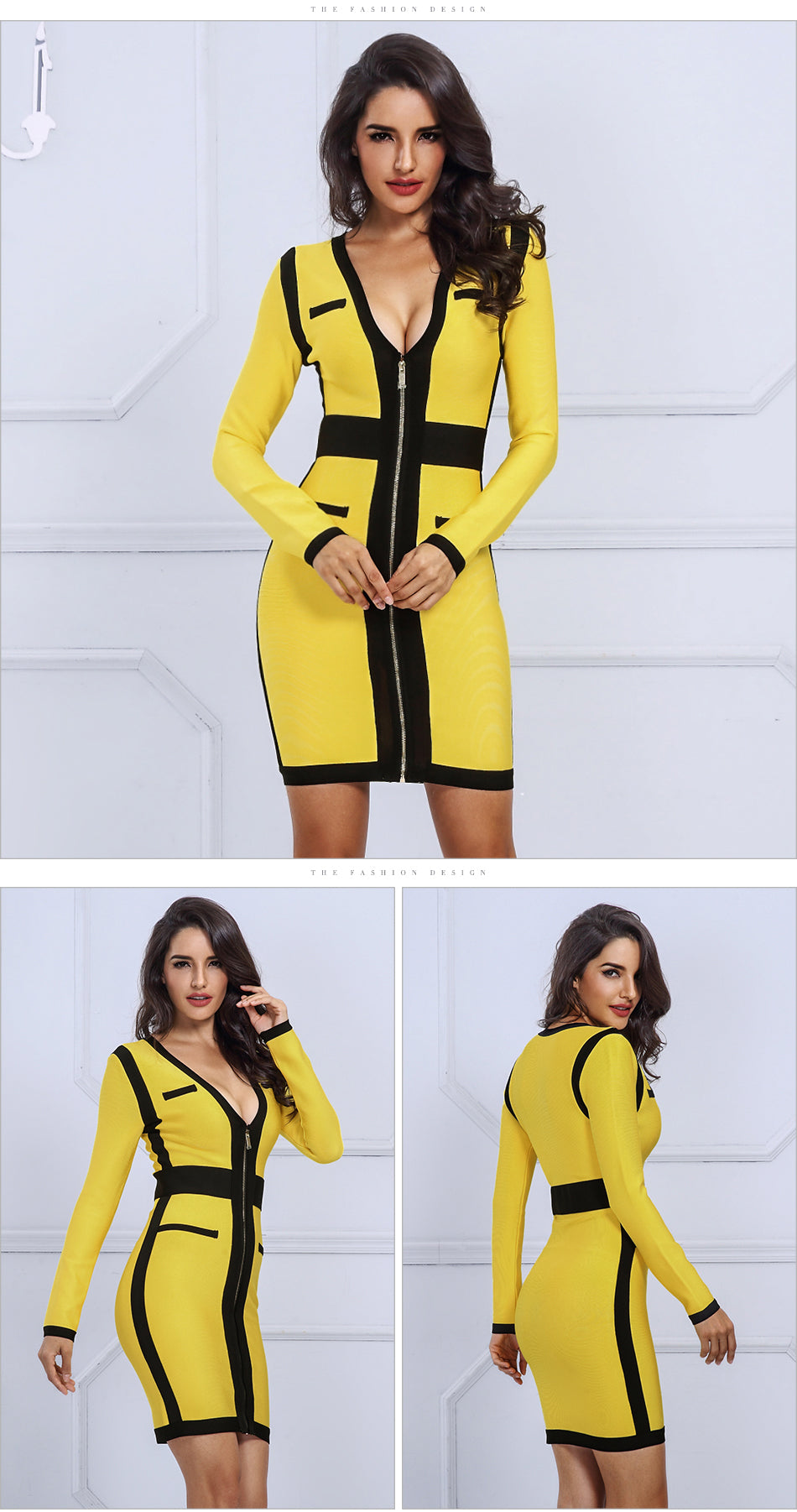 Yellow&Black V Neck Long Sleeve Dress