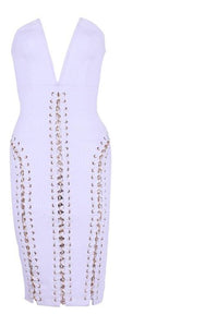 Alanna White Lace Up  Strapless Bodycon Dress