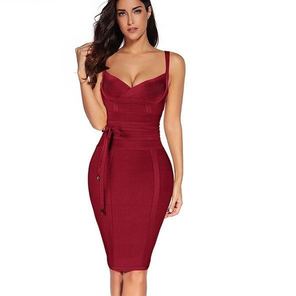 Sienna Rayon Sleeveless Sexy Deep v Neck Dress