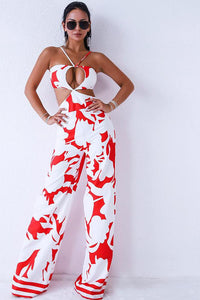 Alexa Cutout Backless Print Jumpsuit
