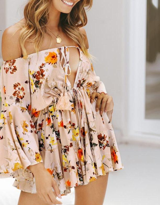 Lily Rosie  Off shoulder floral print summer romper playsuit