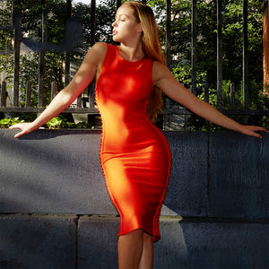 New Sleeveless Women Hollow Out Mid Calf Bodycon Bandage Dress
