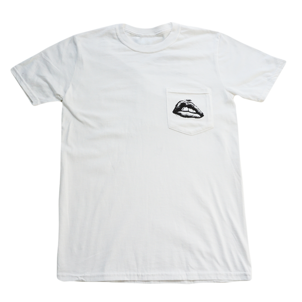 Lips White Pocket Tee