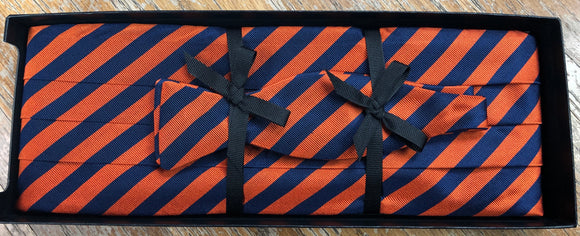 Orange and Blue Striped Cummerbund & Bow Tie Set