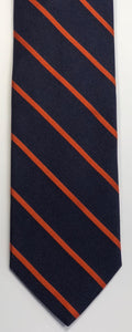 Breuer Navy Tie with 1/8 inch Orange Bar Stripes