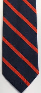 Breuer Navy Tie with 1/4 inch Orange Bar Stripes