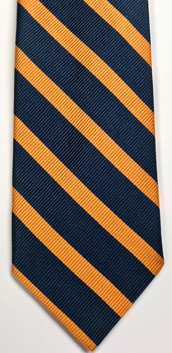 Breuer Navy Repp Tie with 1/4 Inch Orange Bar Stripes