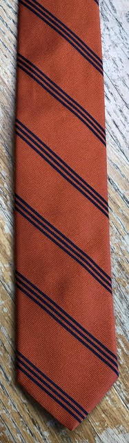 Breuer Orange with Triple Thin Navy Stripes Tie
