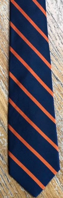 Collard Greens Navy with 1/4 Inch Orange Bar Stripes Tie