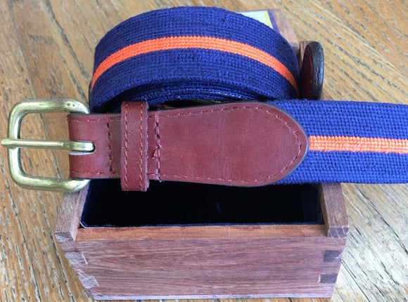 Smathers & Branson Custom Blue and Orange Needlepoint Belt