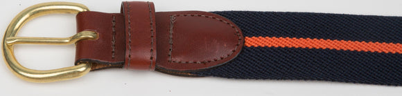 Navy with Orange Stripe Stretch Belt