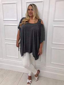 The Patti Drape Jersey Top in Grey