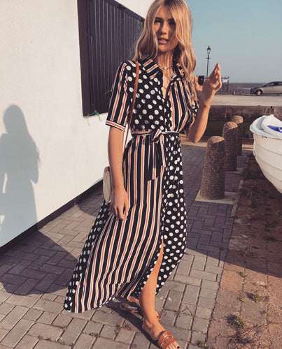 The Spot and Stripe Maxi Shirt Dress