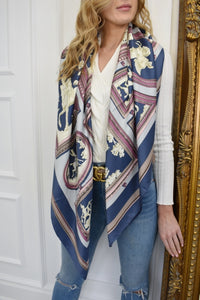 The Harri Satin Scarf in Blue