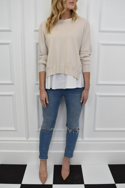 The Nikki Shirt And Jumper Combo In Beige Kiss Kiss Official