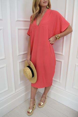 The Maddie Dress in Coral