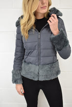 Load image into Gallery viewer, The Sophia Hooded Coat in Grey