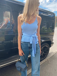The Tia Knit Top in Sky Blue