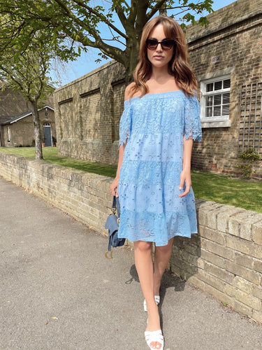 The Abbie Bardot Dress in Sky Blue