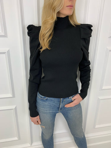 The Erin Statement Shoulder Knit in Black