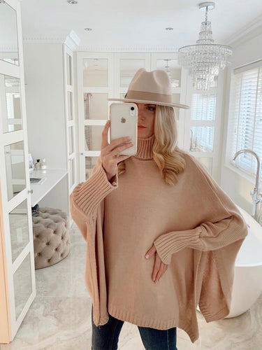 The Pippa Poncho Knit in Blush