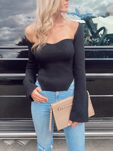 The Claudia Knit Top in Black