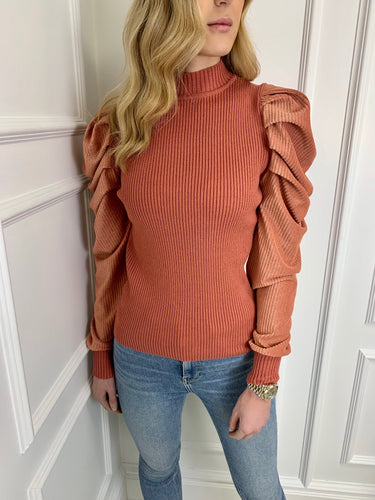 The Cressie Statement Shoulder Knit in Rose Gold