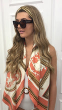 Load image into Gallery viewer, The Harri Satin Scarf in Peach Tones