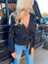 Load image into Gallery viewer, The Pearl Wrap Cardi in Black