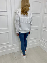 Load image into Gallery viewer, The Tia Tassel Sweatshirt in White
