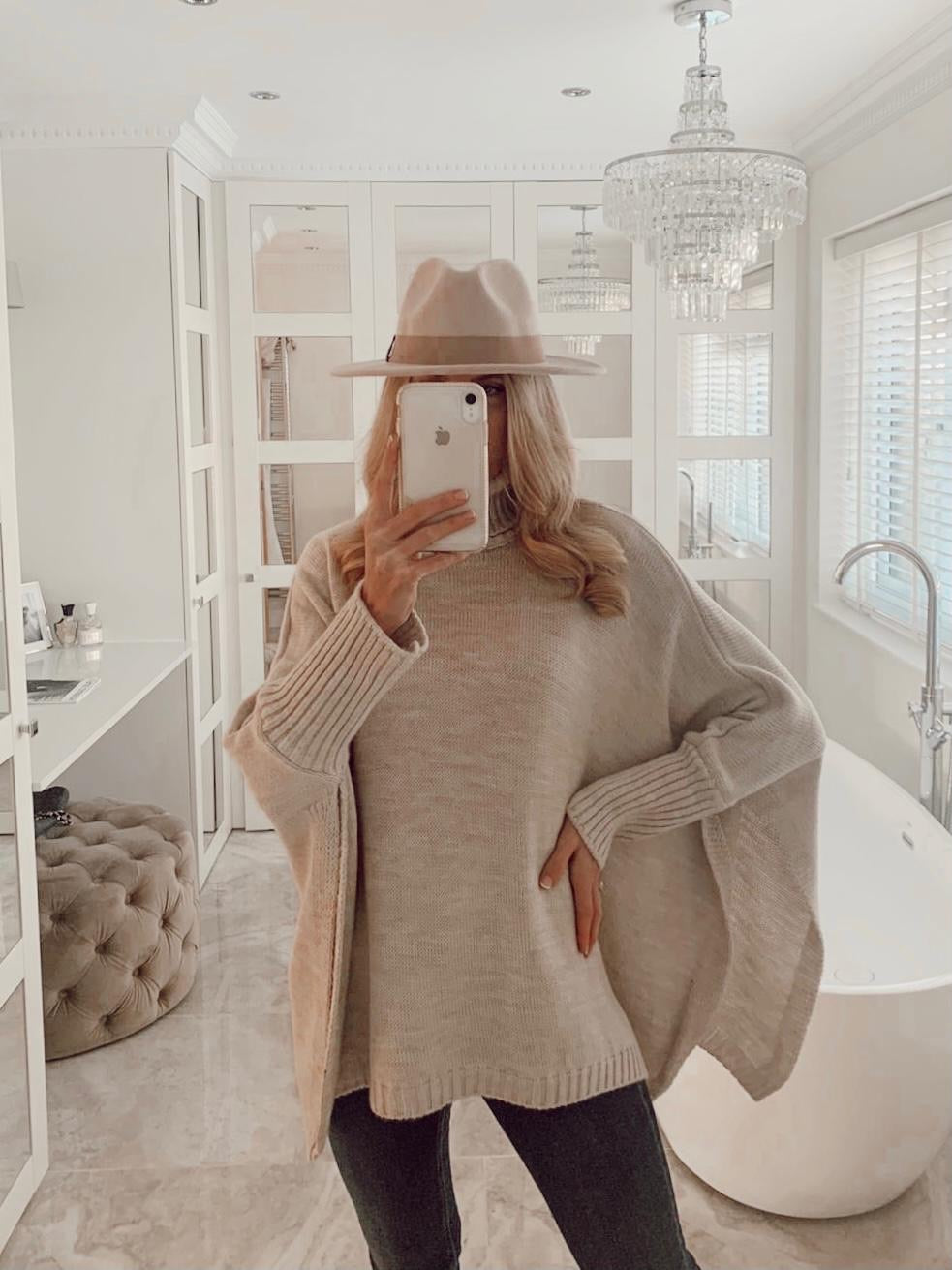 The Pippa Poncho Knit in Beige