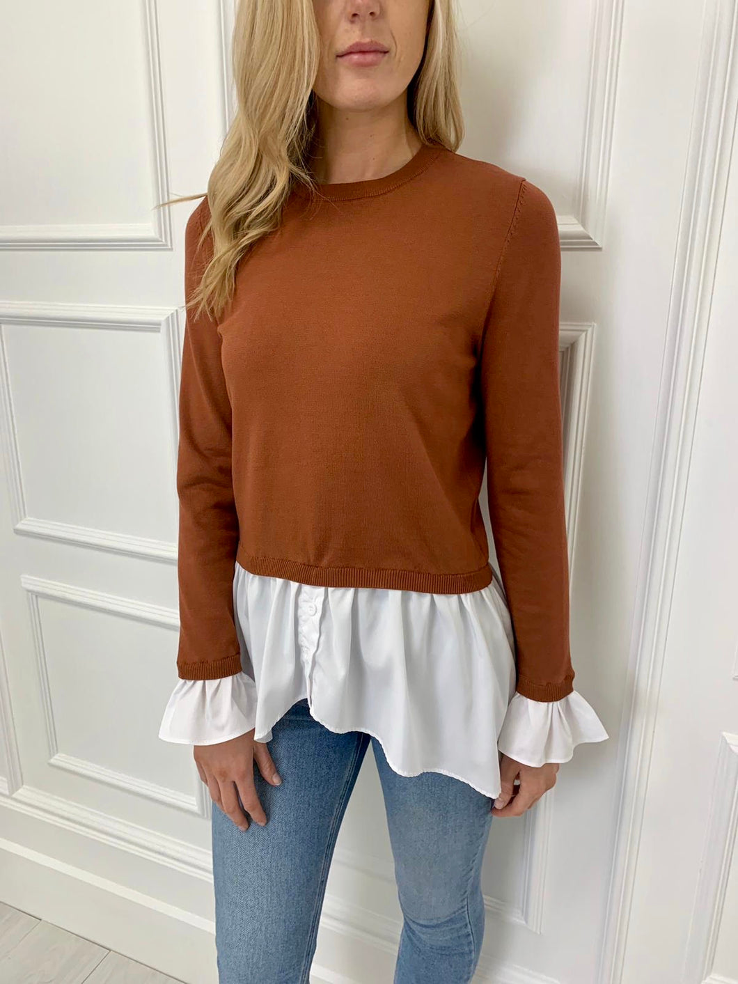 The Robyn Shirt and Knit Combo in Rust