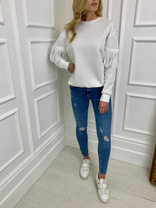 The Tia Tassel Sweatshirt in White
