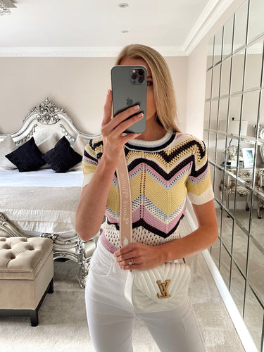 The Millie Knit T-Shirt in Lemon & Lilac