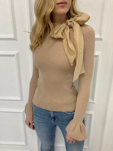 The Chloe Bow Neck Knit in Mocha