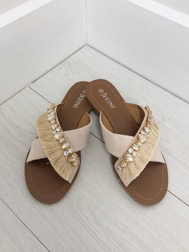 The Tropez Tassel Sandals in Beige