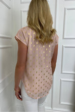 Load image into Gallery viewer, The Jessie Spot Top in Blush and Gold