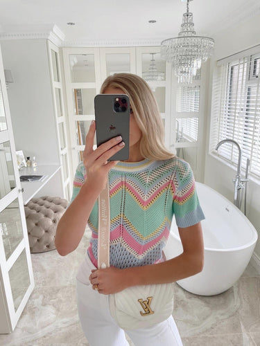 The Millie Knit T-Shirt in Mint & Baby Blue