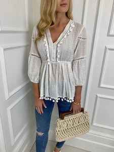 The PomPom Blouse in White