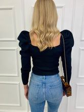Load image into Gallery viewer, The Zara Statement Shoulder Top in Black