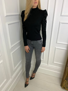 The Valerie Statement Shoulder Knit in Black