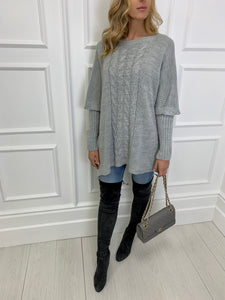 The Pippa Poncho Knit in Grey